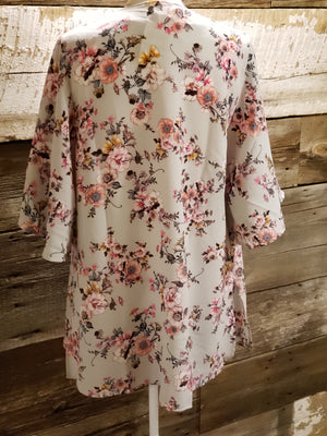 Grey Floral Print Kimono-ALL SALES FINAL