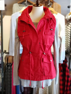 Red Zip Up Button Closure Hooded Vest With Pockets