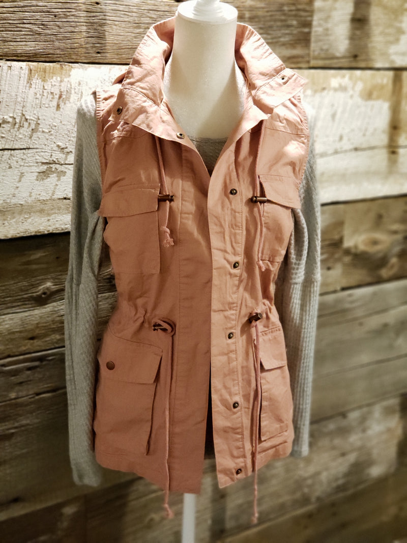Blush or Mauve Zip Up Button Closure Hooded Vest With Pockets