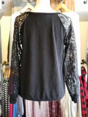 Black Sweater Pull Over with Lace Sleeves-ALL SALES FINAL