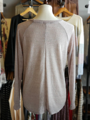 Blush L/S Round Neck with Wooden Button Detail