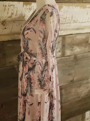 Powder Pink Printed Maxi Dress with Slit Sleeves
