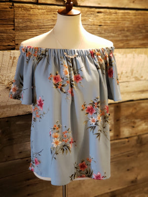 Flutter Short Sleeve Off the Shoulder Floral Top