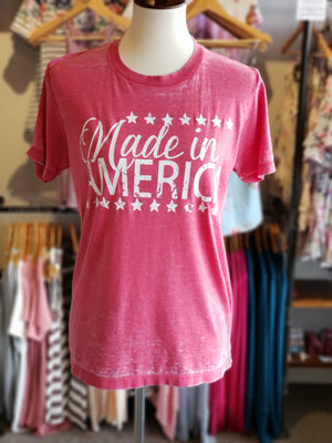 Red Made In America Acid Wash Tee-ALL SALES FINAL