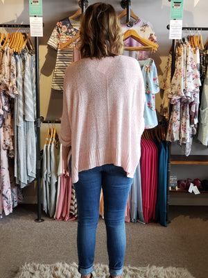 Pink Dolman Casual Sweater with Slit Side ONE SIZE