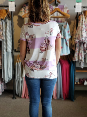 Lavender Short Sleeve Front Knot Stripe Floral Tunic