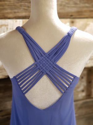 Tanzanite Hi Low Sleeveless Top with Back Cage
