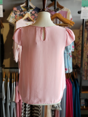 Dusty Pink Short Sleeve Top - ALL SALES FINAL