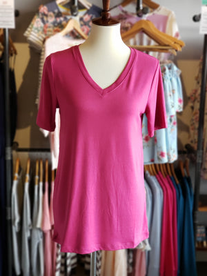 Magenta or Navy Short Sleeve V-Neck Top