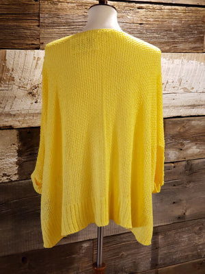 Yellow Dolman Sleeve Solid Casual Sweater