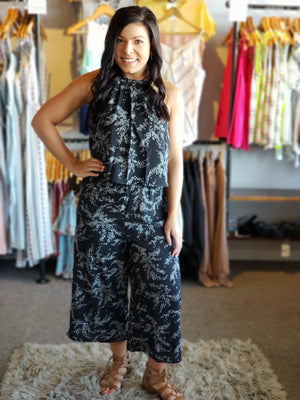 Black Printed Halter Jumpsuit - ALL SALES FINAL