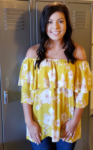 Yellow Floral Ruffle Layered Off the Shoulder-ALL SALES FINAL