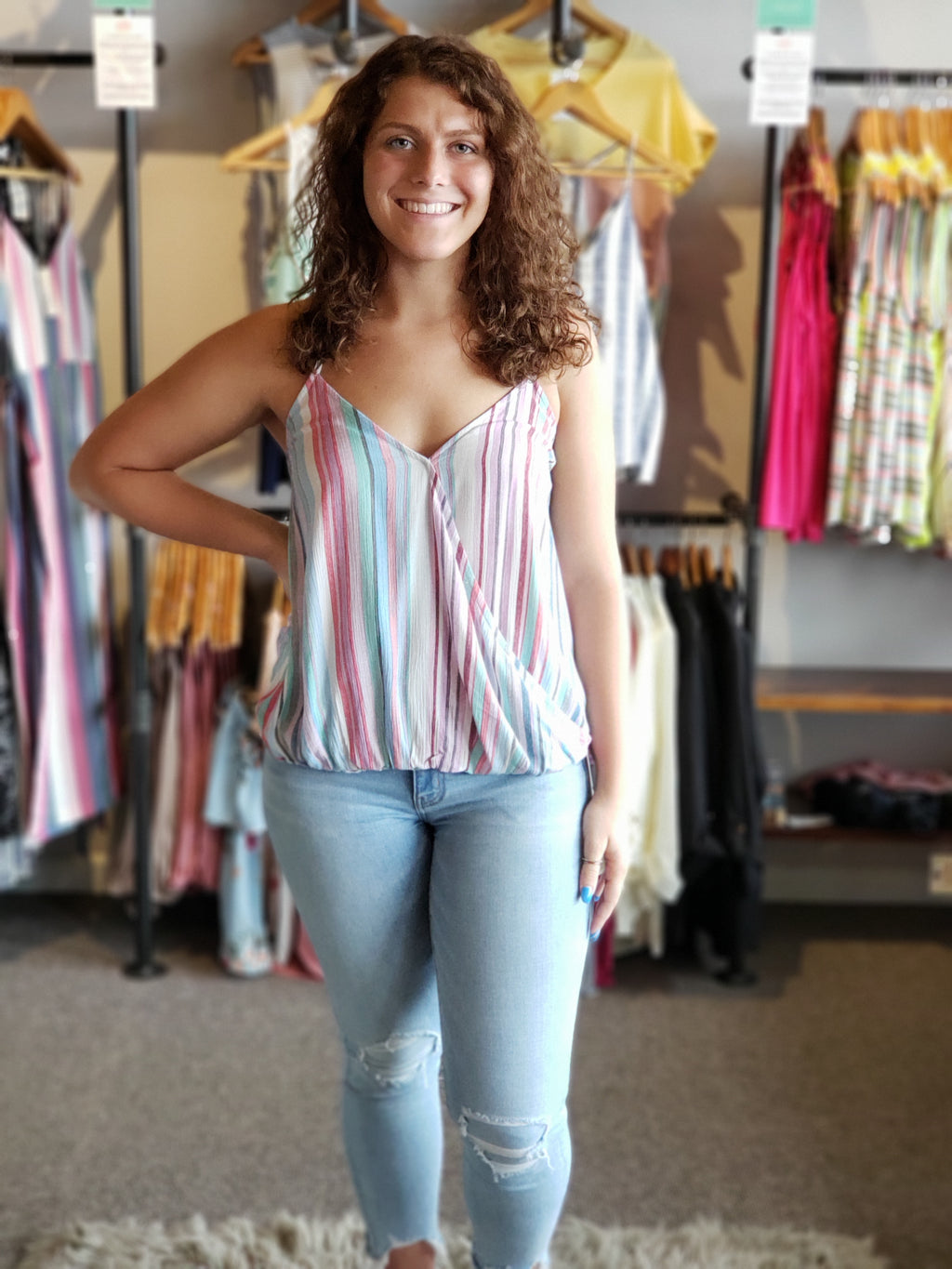 Lavender/Mint Striped Sleeveless Top with Plunging Neckline