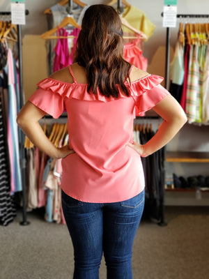 Coral Cold Shoulder with Ruffle and Buttons Down the Front