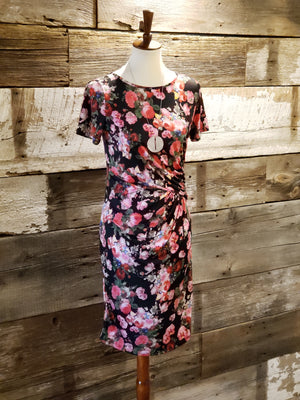 Black Floral Short Sleeve Dress - ALL SALES FINAL