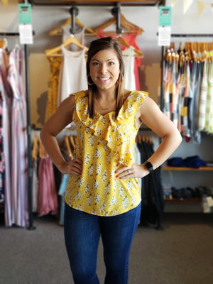 Yellow w Floral Print Surplice Top with Ruffles on Neckline