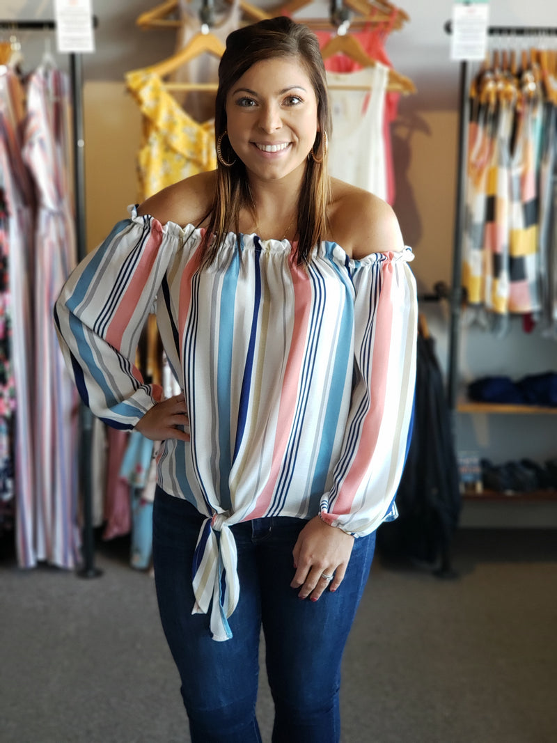 Off-the-Shoulder Vertical Stripe Top with tie side Detail