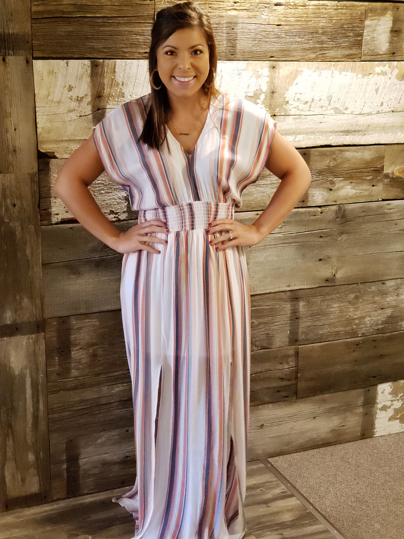V-Neck Smocked Waist Vertical Stripe Maxi Dress