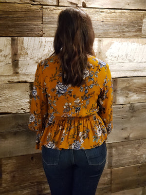 Camel Flower Printed Top- ALL SALES FINAL