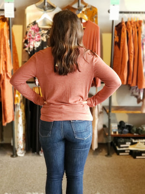 Rust Ribbed L/S V-neck Top with Twist Front
