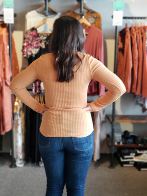 Mustard Rib Knit L/S Top with Button Detail