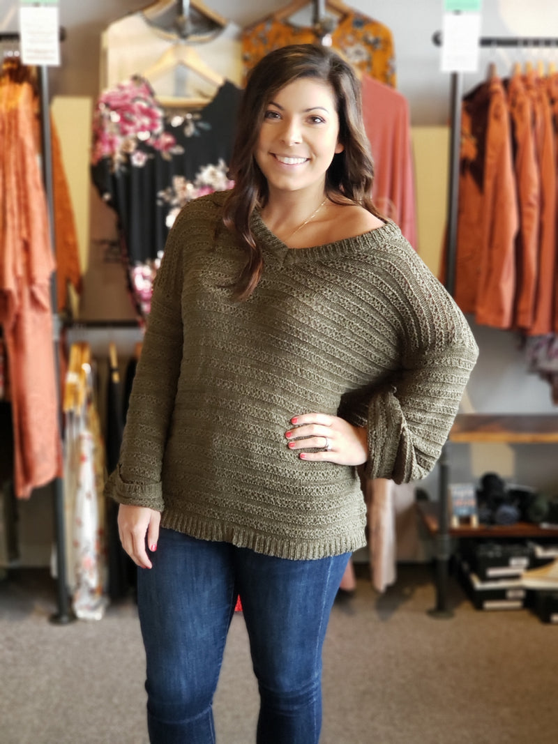 Olive Knit Stripe Pattern Sweater