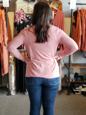 Black & Dusty Rose Snap Button Cardigan - ALL SALES FINAL