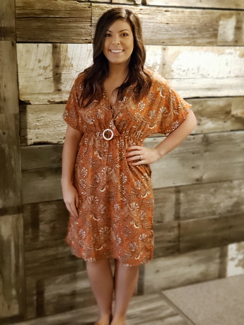 Burnt Orange Paisley V-Neck Dress with Pockets