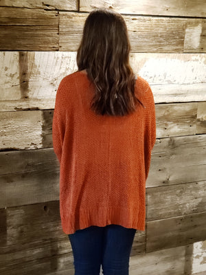 Rust Dolman Sleeve Sweater w Slit Sides (One Size) - ALL SALES FINAL