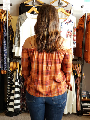 Rust Plaid Button Down Mini Ruffle off  the Shoulder - ALL SALES FINAL