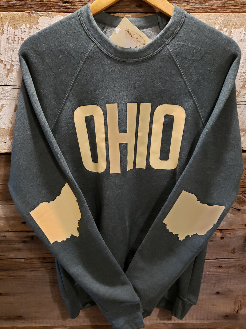 Hunter Grey with Ivory OHIO Crew Neck Sweatshirt - Unisex
