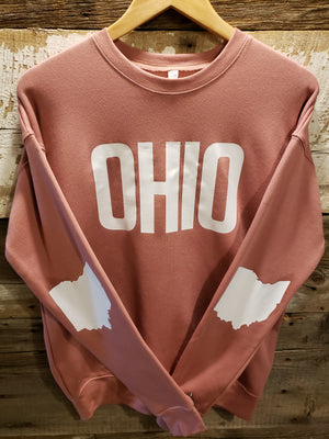 Mauve with White OHIO Crew Neck Sweatshirt - Unisex