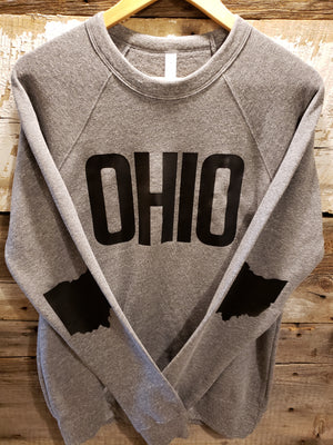 Grey with Black OHIO Crew Neck Sweatshirt - Unisex