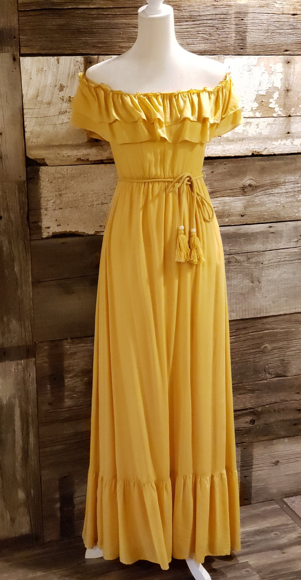 Mustard Off the Shoulder Maxi Dress with Ruffled Hem - ALL SALES FINAL