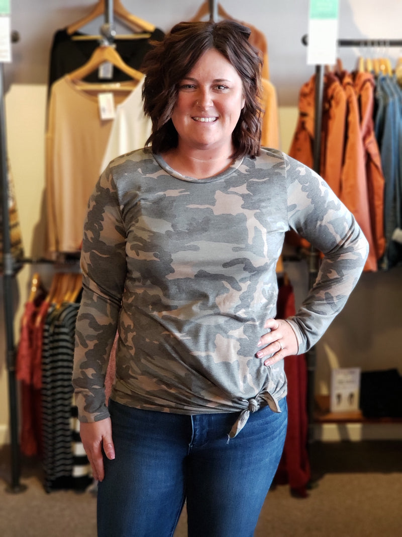 Camouflage Long Sleeve Tunic with Front Tie Detail