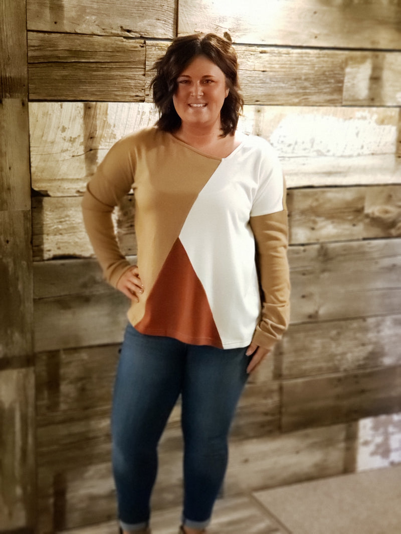 Ivory/Mocha Color Block Top