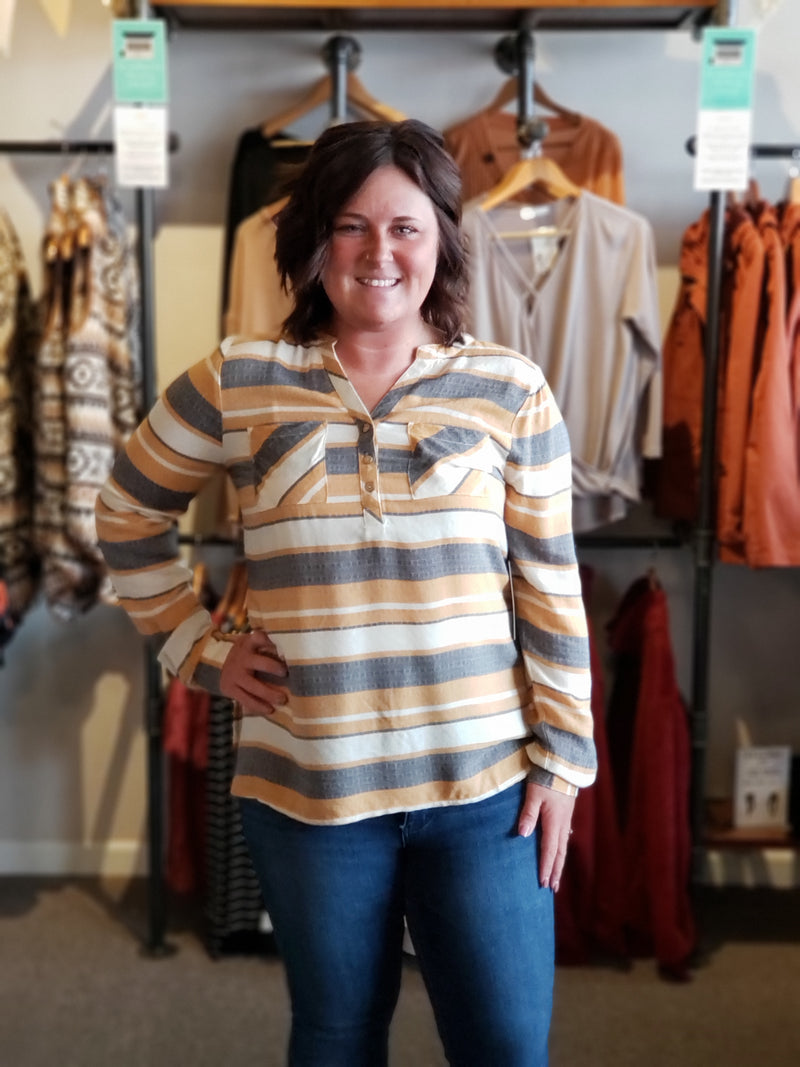Mustard Stripe Shirt with Pocket