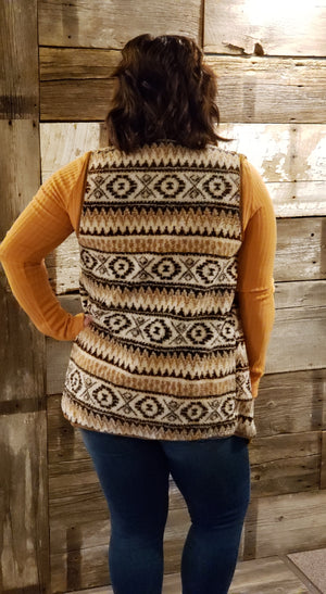Mocha Aztec Pattern Print Faux Fur Vest - ALL SALES FINAL