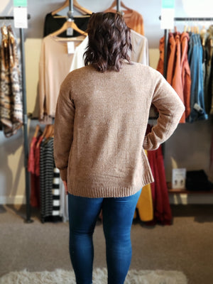 Camel Plush Cardi with button Front