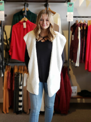 Ivory Oversize Faux Fur Open Front Vest with a Hood and Pockets-  - ALL SALES FINAL
