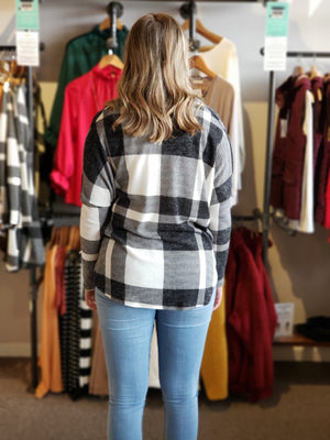 Black Loose Fit Plaid Top