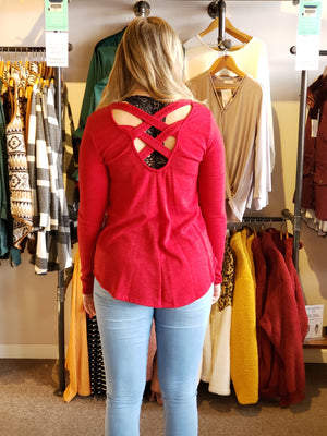 Red Solid Top with Criss Cross Back Detail