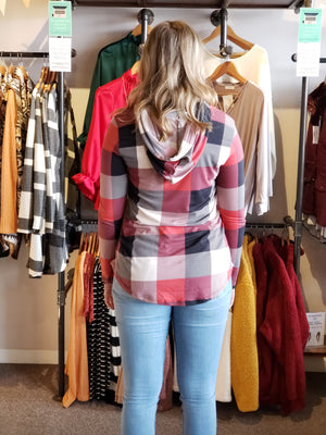 Red Plaid Print Hoodie Tunic Top