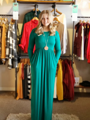 Forest Green Long Sleeve Round Neck Maxi-ALL SALES FINAL