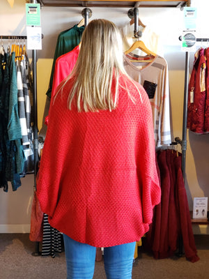 Red Long Sleeve Knitted Solid Open Front Cardigan