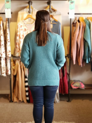Dusty Teal Waffle Cardigan with Pockets