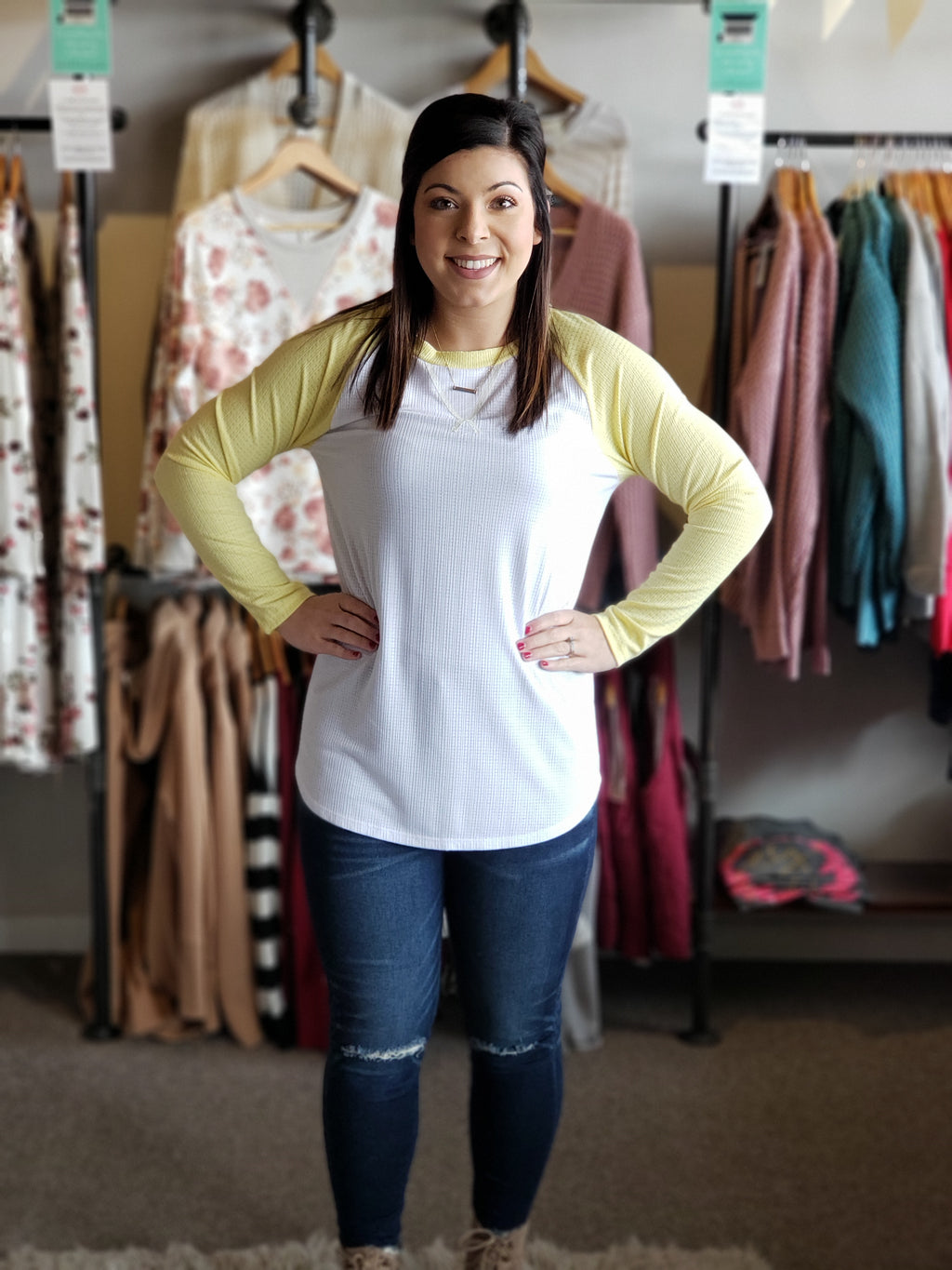 Lemon Knit Top with Raglan Shoulders and Long Sleeves-ALL SALES FINAL