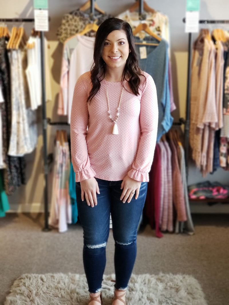 Pink Popcorn Knit Top with Bishop Sleeve