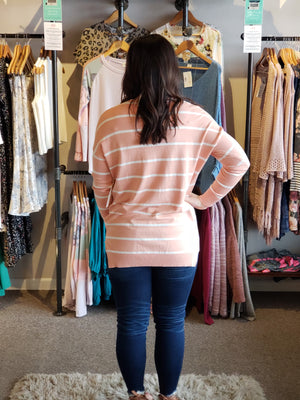 Coral Pink Stripe Drop Shoulder V-Neck Top-ALL SALES FINAL