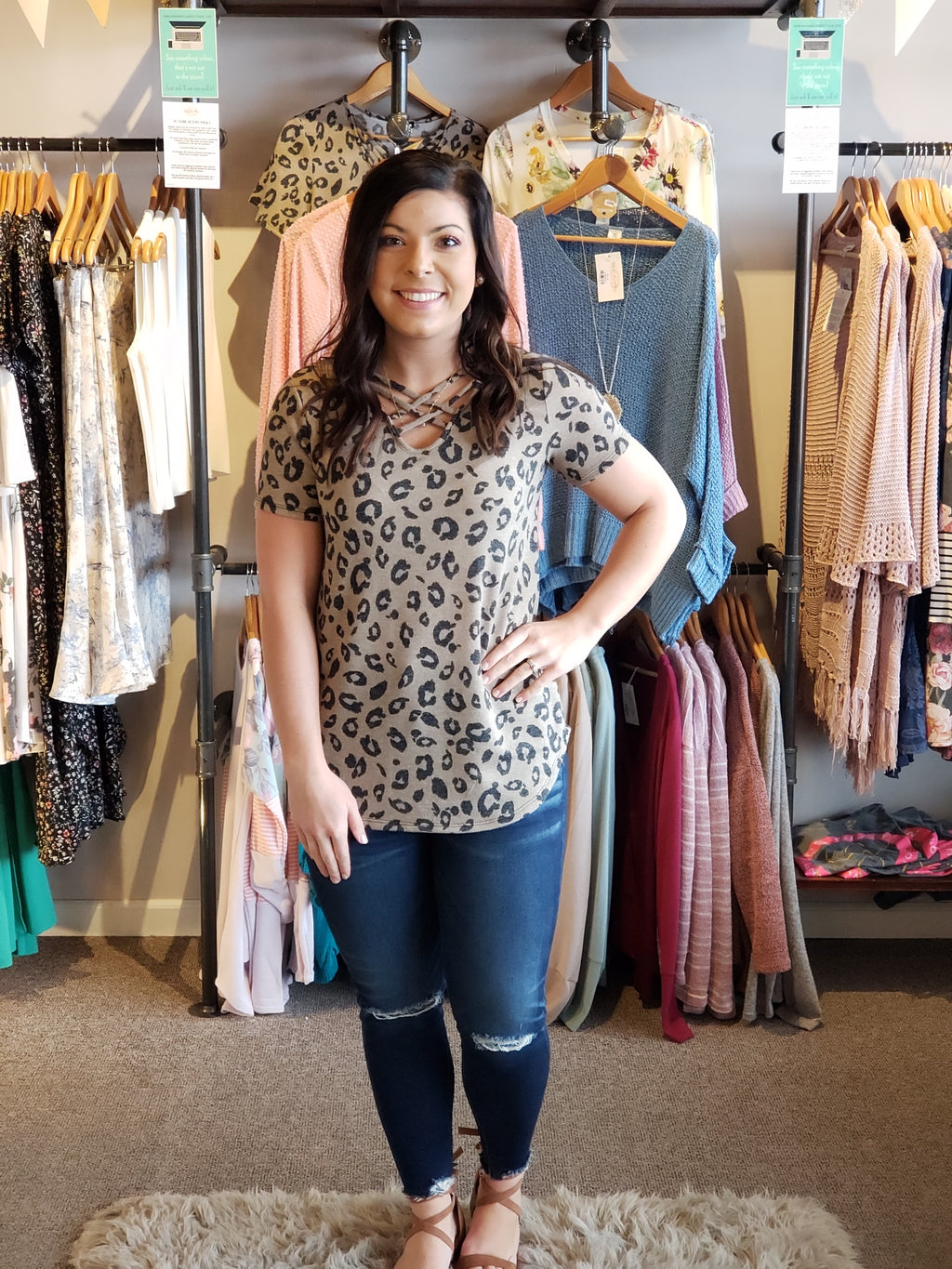Taupe Leopard Animal Print Criss Cross V-Neck Top